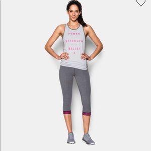 Under Armour Pants - NWT Under Armor Capri pants Gray Pink Size Medium